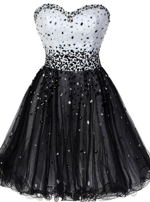 Black Tulle Sweetheart Beading Short Homecoming Dress