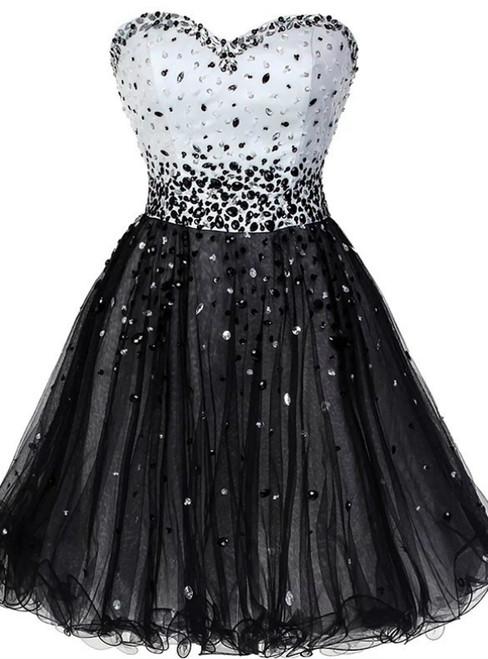 Black Tulle Sweetheart Beading Short Homecoming Dress