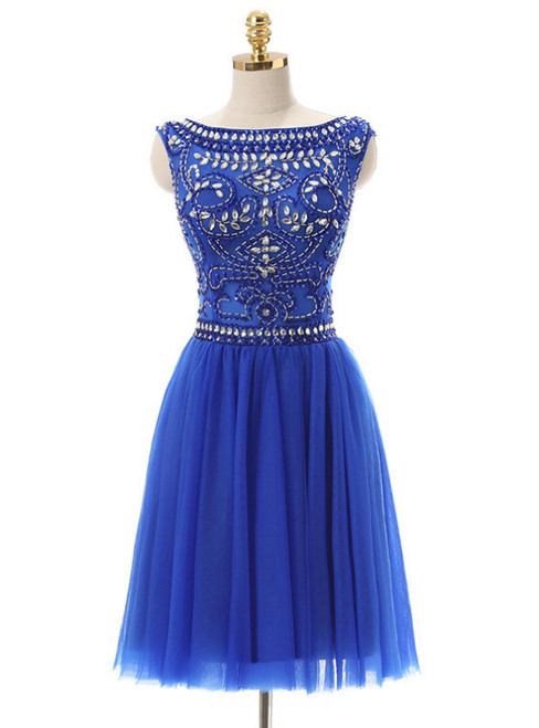 A-Line Blue Tulle Crystal Beading Backless Homecoming Dress