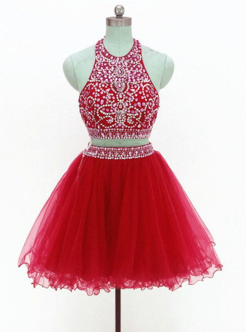 Red Two Piece Halter Tulle Backless Beading Homecoming Dress