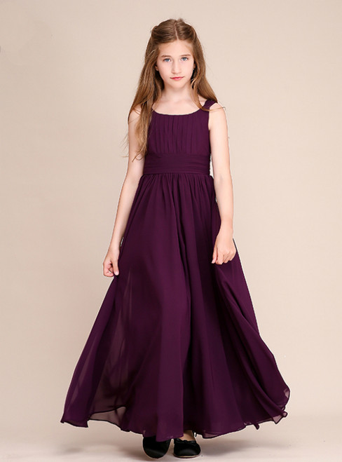 A-Line Purple Chiffon Pleats Long Flower Girl Dresses