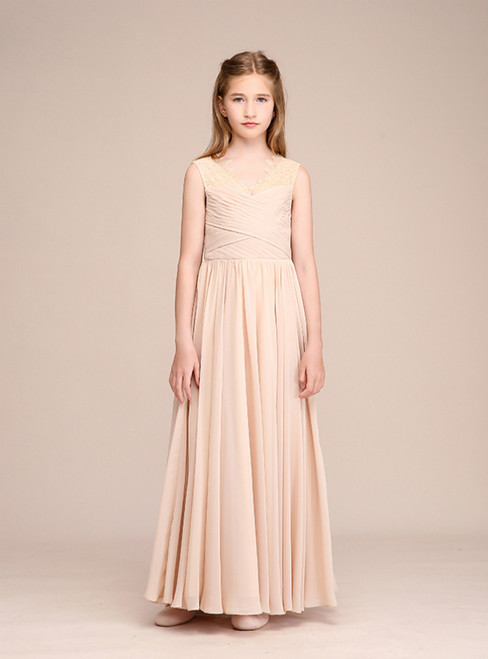 7582b7f7077 A-Line Champagne Chiffon V-neck Lace Pleats Flower Girl Dress