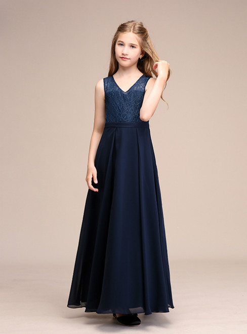 A-Line Chiffon Lace Navy Blue V-neck Backless Flower Girl Dresses