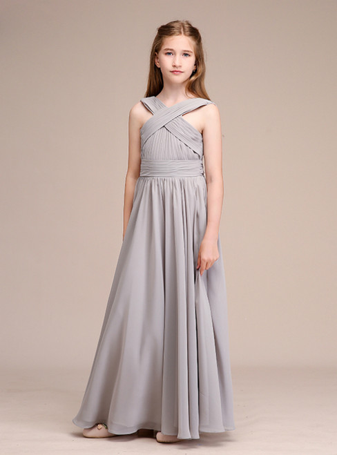 A-Line Gray Chiffon Backless Pleats Long Flower Girl Dresses
