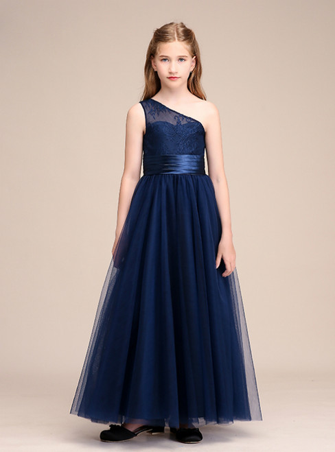 A-Line Navy Blue Tulle Lace One Shoulder Long Flower Girl Dresses