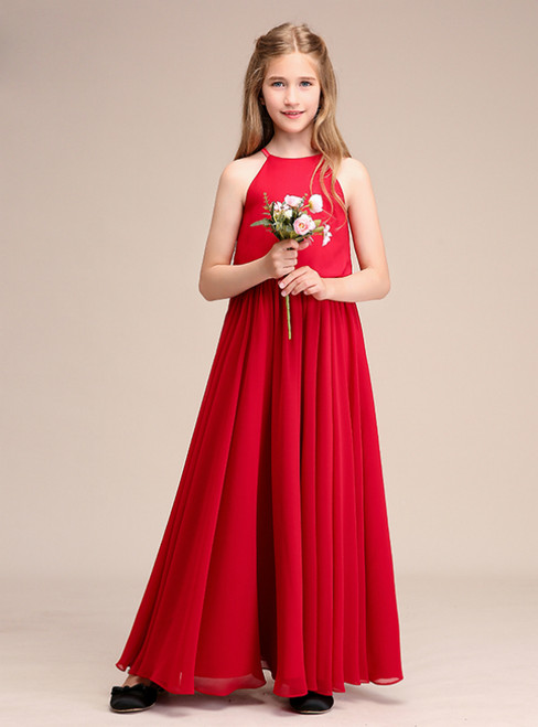 A-Line Red Halter Chiffon Long Flower Girl Dresses