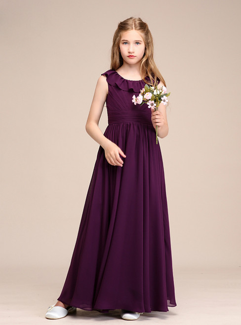 A-line Purple Chiffon Scoop Pleats Long Flower Girl Dresses