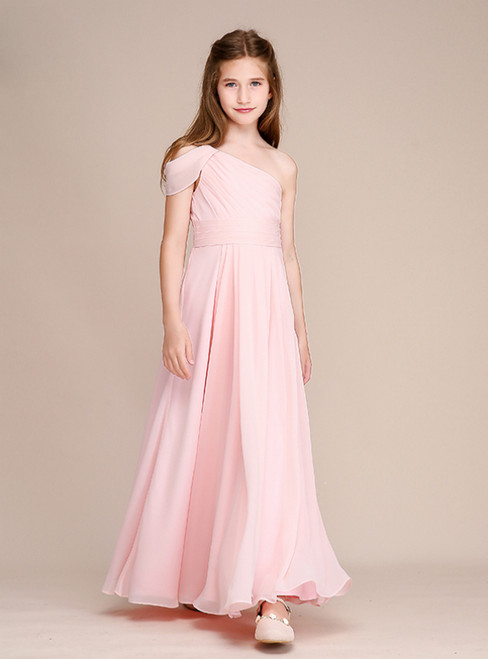 A-Line Pink Chiffon One Sholuder Pleats Long Flower Girl Dresses