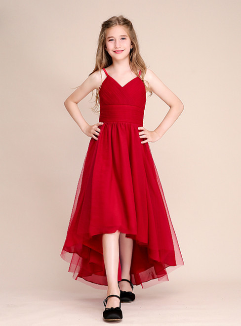 A-Line Hi Lo Red Tulle Spaghetti Straps Pleats Flower Girl Dress