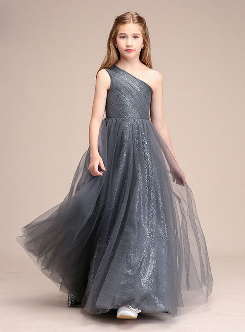 A-Line Gray Tulle One Shoulder Long Pleats Flower Girl Dress