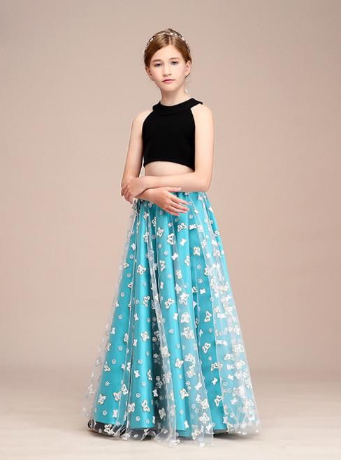 A-Line Black Blue Tulle Two Piece Halter Long Flower Girl Dress