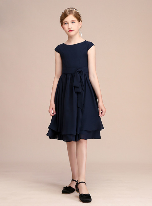 Navy Blue Chiffon Cap Sleeve Knee Length Flower Girl Dress