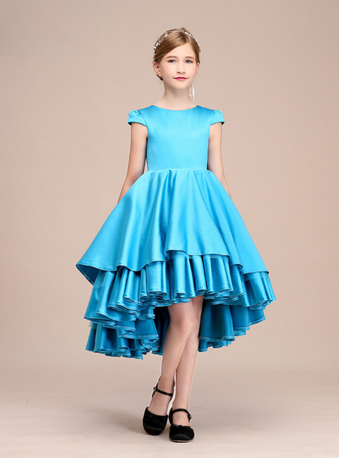 A-Line Simple Blue Satin Hi Lo Cap Sleeve Flower Girl Dress