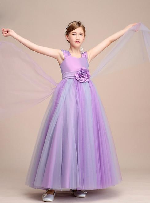 Purple Tulle Straps Long Flower Girl Dresses With Flower