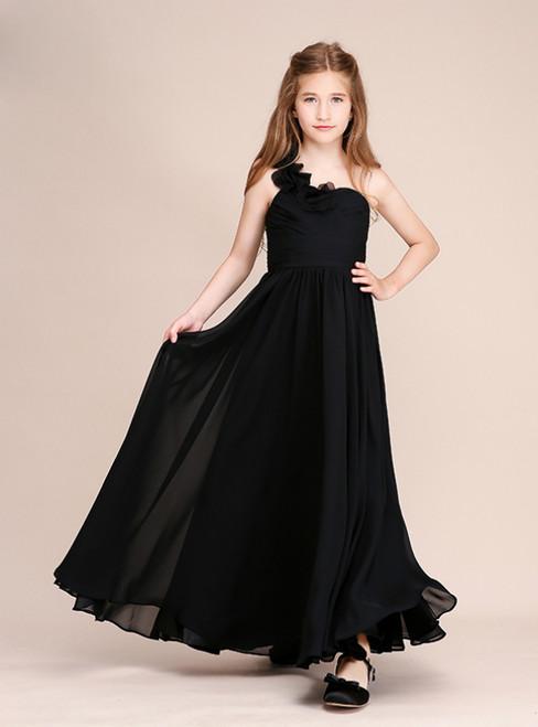 Black Chiffon One Shoulder Pleats Long Flower Girl Dress
