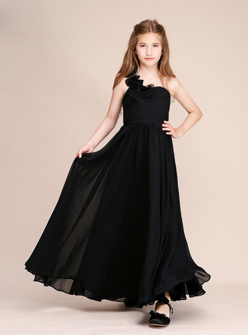 Black Chiffon One Shoulder Pleats Long Flower Girl Dress