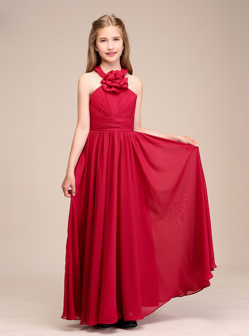 A-Line Red Chiffon Halter Plests Flower Girl Dress With Hand Flower