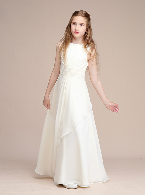 A-Line Simple White Chiffon Pleats Long Flower Girl Dress