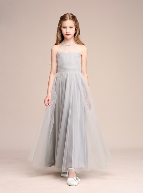 Light Gray Tulle Halter Backless Sleeveless Flower Girl Dress