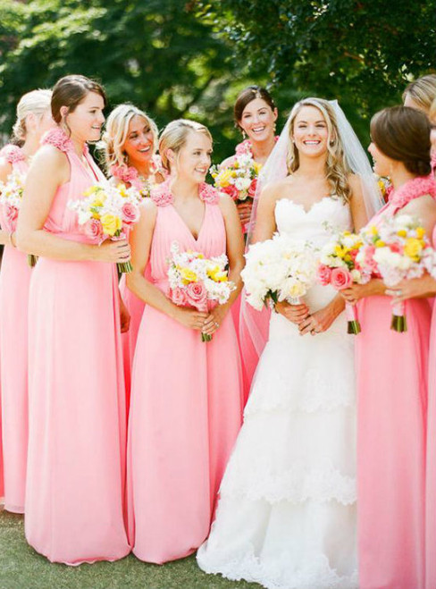 Pink Chiffon V-neck Floor Length Junior Long Bridesmaid Dresses