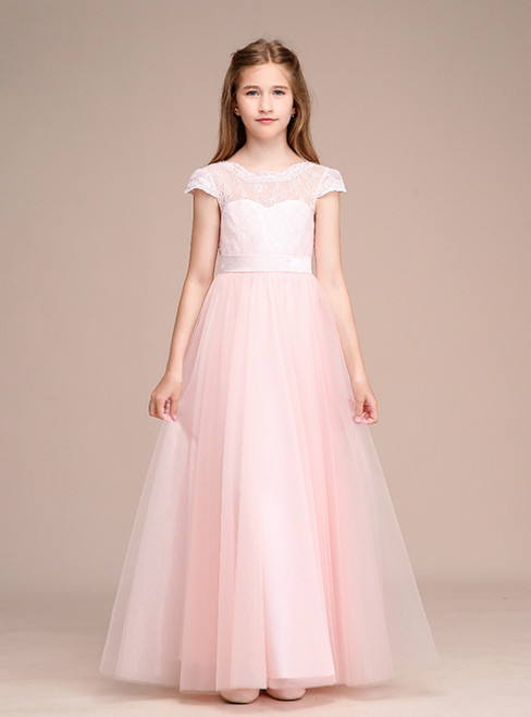 Pink Tulle Lace Cap Sleeve Backless Flower Girl Dress With Sash
