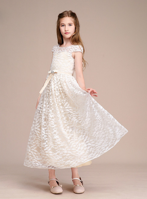 Champagne Lace Cap Sleeve Ankle Length Flower Girl Dress