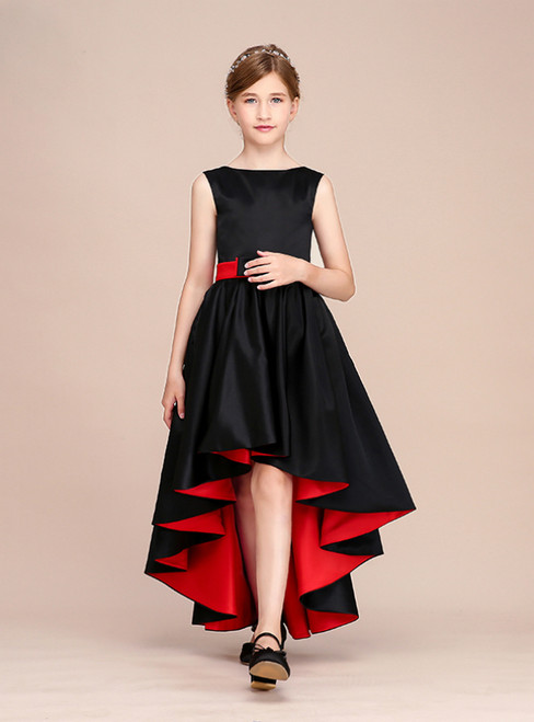Simple Black Satin Hi Lo Flower Girl Dress With Bow