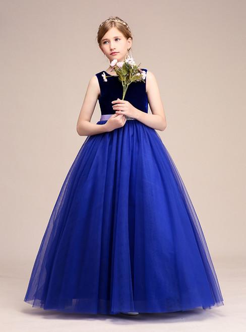 Royal Blue Tulle  Velvet Backless Flower Girl Dress With Sash