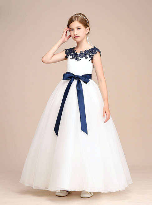 A-Line White Tulle Blue Appliques Flower Girl Dress With Sash