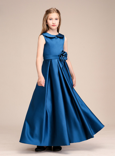 A-Line Blue Satin Long Ankle Length Flower Girl Dress