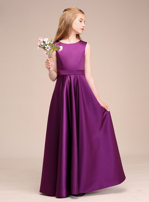 Simple Grape Purple Satin Backless Flower Girl Dress