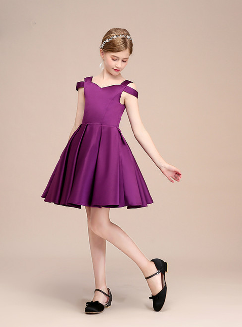 A-Line Short Satin Purple Backless Knee Length Flower Girl Dress