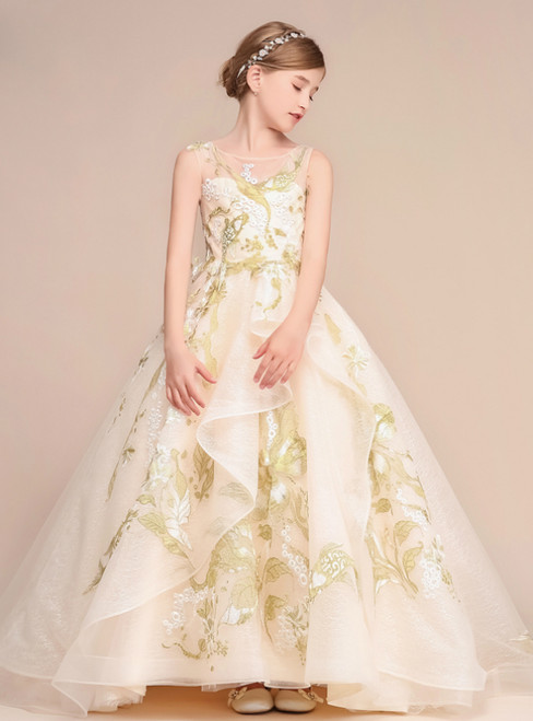 Champagne Ball Gown Embroidery Flower Tulle Flower Girl Dress