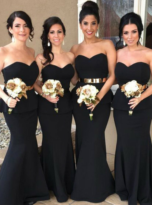 Strapless Black Mermaid Long Bridesmaid Dress with Gold Belt