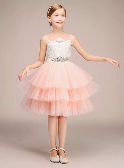 Pink Tulle White Lace Scoop Neck Short Flower Girl Dress With Sash