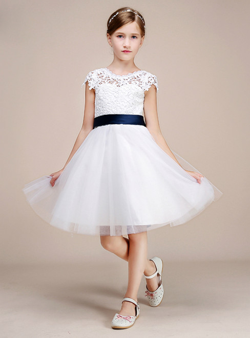 White Tulle Lace Open Back Knee Length Girl Dress With Belt