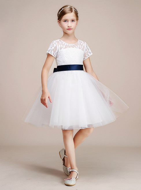 White Tulle Lace Appliques Cap Sleeve Backless Flower Girl Dress With Sash