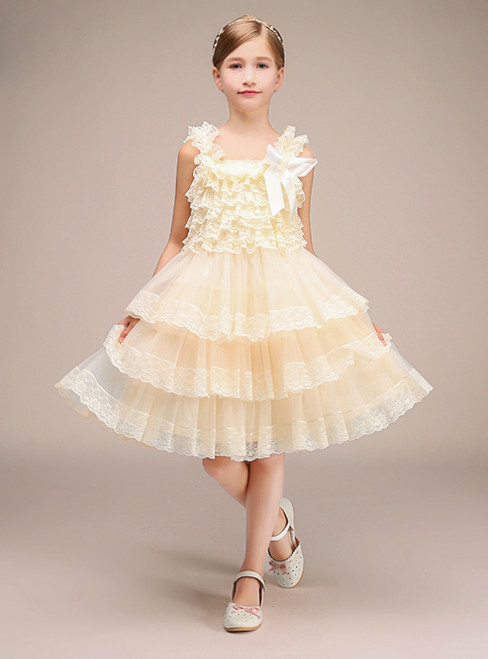 Yellow Tulle Lace Tired Straps Short Flower Girl Dress
