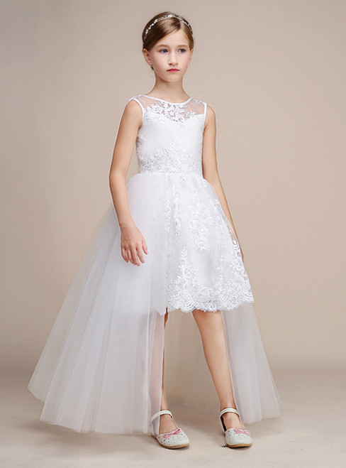 White Hi Lo Tulle Lace Appliques Sleeveless Girl Dress