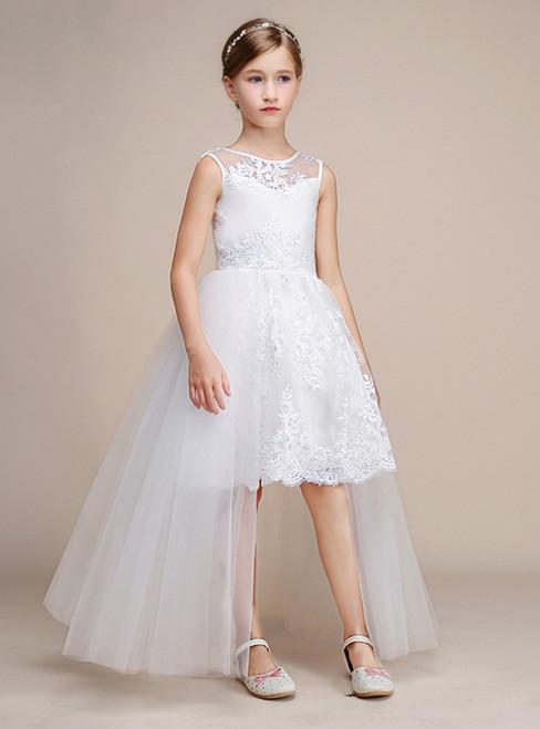 White Hi Lo Tulle Lace Appliques Sleeveless Girl Dress