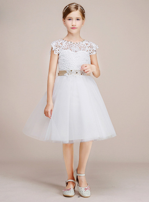 White Tulle Lace Short Flower Girl Dress With Sash