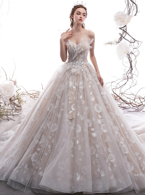 Champagne Ball Gown Tulle Sweetheart Appliques Sequins Wedding Dress