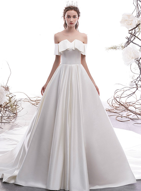 White Ball Gown Satin Off the Shoulder Wedding Dress With Train