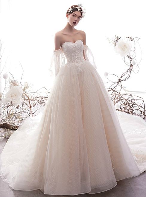 Champagne Ball Gown Tulle Sequins Sweetheart Puff Sleeve Wedding Dress