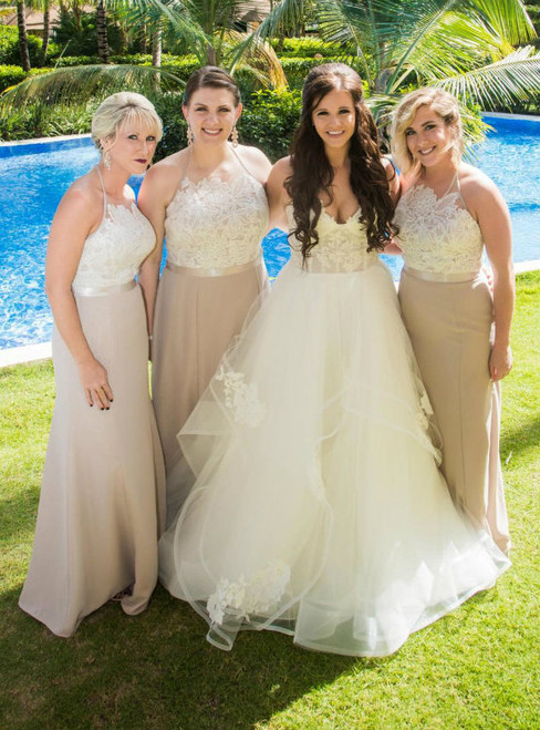 Elegant Halter Mermaid Long Bridesmaid Dresses Party Dress