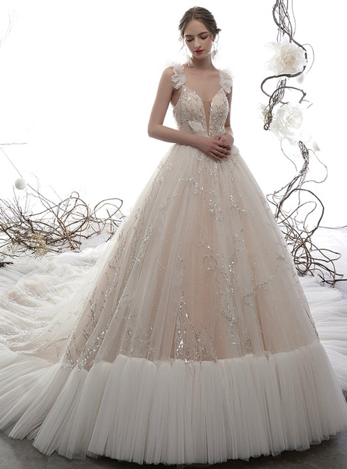 Champagne Ball Gown Tulle Sequins V-neck Backless Wedding Dress