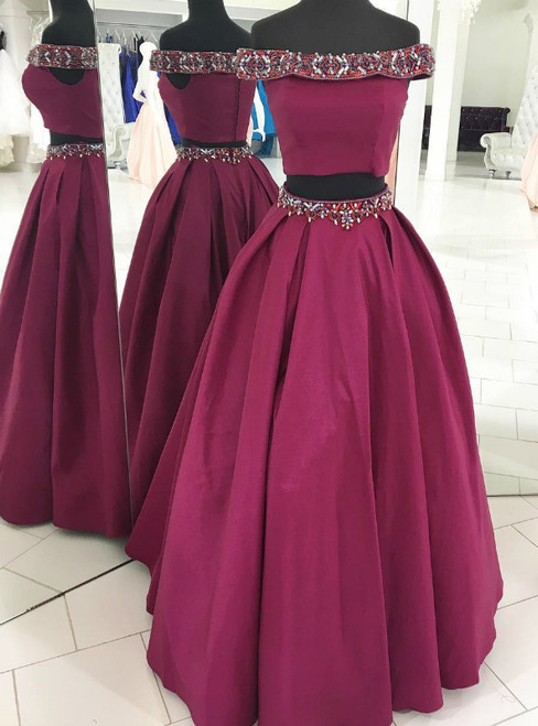 Fuchsia Two Piece Satin Off the Shoulder Beading Prom Dress