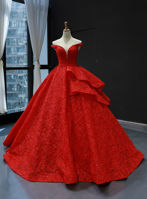 Red Ball Gown Lace Off the Shoulder Floor Length Quinceanera Dress