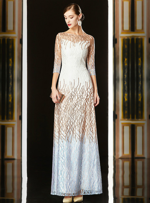 Sheath White Gold Tulle Sequins Half Sleeve Long Mother Of The Bride Dress