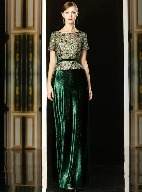 A-Line Green Sequins Short Sleeve Long Mother Of The Bride Dress